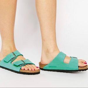 Birkenstock•Mint Green Leather Sandal